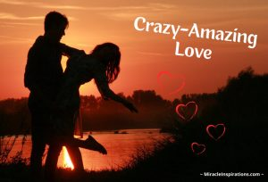Crazy amazing love, couple holding hands on shore, sunset, hearts